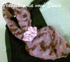 Trabalhos da vovó Sônia: Gola gravatinha lilás mesclado - croché