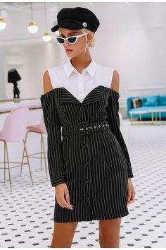 15fa5db47b1 Elegant Faux Two Piece Striped Blazer Blouse Dress. Business Casual Womens  FashionOffice ...