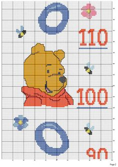 2*pooh Measuring Stick, Height Chart, Cross Stitch Boards, C2c, Cross Stitching, Winnie The Pooh, Couture, Crochet, Kids Rugs