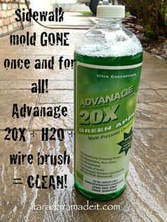 Remove mold from your walkway in minutes.  Mix a cap full of this with water, a steel brush, and rub.  Not much scrub as it takes it off so e...