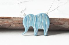 Pendant elephant hand painted OOAK blue beige cute by MagicTwirl