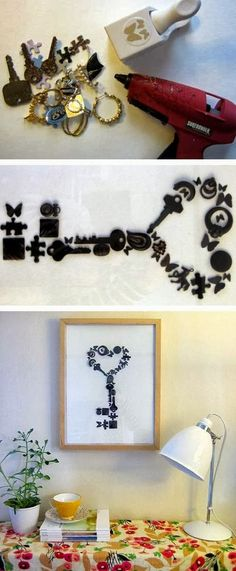 Collect memorable knick knacks (puzzle pieces, old keys, beads, buttons, old jewelry or charms, etc.), spray paint them black, hot glue to a canvas and hang.