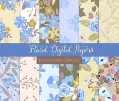 Fall Floral digital paper floral Purple digital paper flower Fall digital paper Periwinkle scrapbook paper 12x12 commercial use purple by DigitalCSPrintables