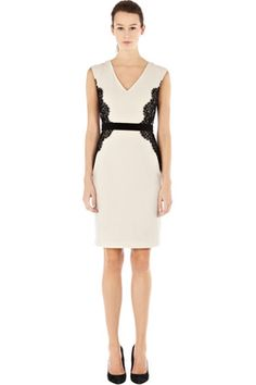 Dresses | Neutral LACE OVERLAY PENCIL DRESS | Warehouse