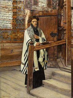 Isidor Kaufmann Lesender Rabbiner im Vorhofe des Tempels.jpg