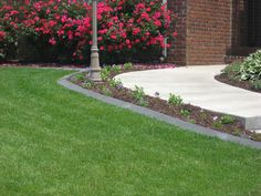 Concrete Border,Concrete edging or landscape curbing is an affordable way to beautify your landscaping with a maintenance free product. Concrete Landscape Edging, Landscape Curbing, Landscape Borders, Landscaping With Boulders, Front Yard Landscaping, Landscaping Ideas, Edging Ideas, Outdoor Living Areas, Sidewalk