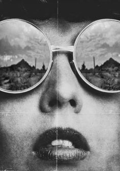 vintage black and white photography. reflection sunglasses woman