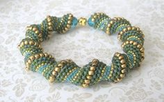 green seed bead bracelet by beadnurse on Etsy, $45.00