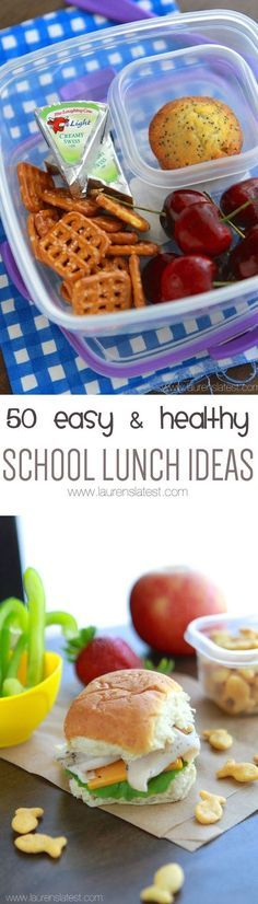 50 Easy & Healthy Lunch Ideas… Spice things up with these amazing ideas! Your kids will love them! 50 Easy & Healthy Lunch Ideas… Spice things up with these amazing ideas! Your kids will love them! Kids Lunch For School, Healthy School Lunches, Lunch To Go, Healthy Snacks, Healthy Eating, Healthy Recipes, Lunch Time, Lunch Box Ideas For Adults Healthy, Healthy Lunch Boxes