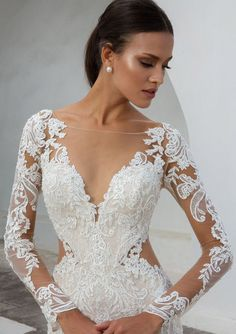 Justin Alexander Bridal 88010 Lace Fit and Flare Gown with Illusion Long Sleeves Lace Wedding Dress, Long Sleeve Wedding, Dream Wedding Dresses, Bridal Dresses, Wedding Gowns, Illusion Wedding Dresses, Winter Wedding Dresses, Butterfly Wedding Dress, Extravagant Wedding Dresses