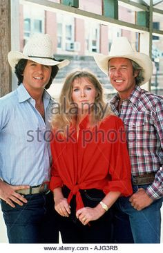 DALLAS US TV series with from left Patrick Duffy Susan Howard Steve Kanaly - Stock Image