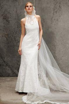 Robe de mariée col haut sans manche décorée de châle longueur au sol en satin et dentelle