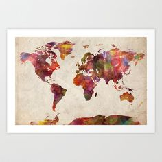 World map watercolor Art Print by Map Map Maps - $18.00
