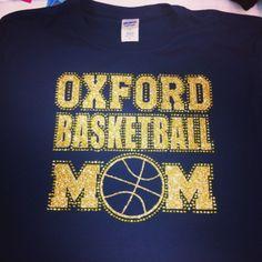 Custom Rhinestone Basketball Mom shirt. monogramthat.com #monogram #rhinestone