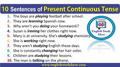 10 Sentences of Present Continuous Tense - English Study Here English Grammar Tenses, Teaching English Grammar, English Vocabulary, Teaching Math, Present Continuous Tense, Simple Present Tense, Simple Past Tense, English Study, English Lessons