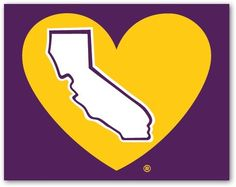 Lake Show Purple And Gold California Heart Decal - pinned by pin4etsy.com
