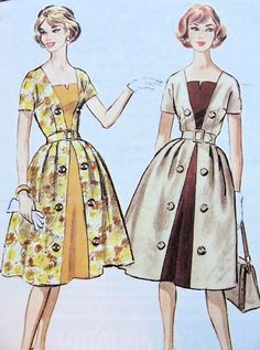 McCALLS 4987 DRESS PATTERN 1950s FRONT CONTRAST INSET