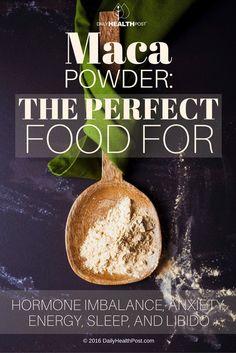 Maca Powder: The Perfect Food For Hormone Imbalance, Anxiety, Energy, Sleep, And Libido - Healthy Detox Food Healthy Detox, Get Healthy, Healthy Tips, Healthy Food, Vegan Detox, Detox Foods, Maca Pulver, Chronischer Stress, Maca Benefits