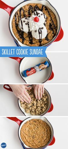 One small step for man, one giant leap for chocolate chip cookie greatness! This Skillet Cookie Sundae is the best thing ever.
