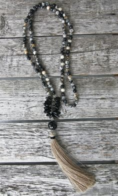 Long Tassel Necklace with Black and Grey Marble by NORDeastHOME