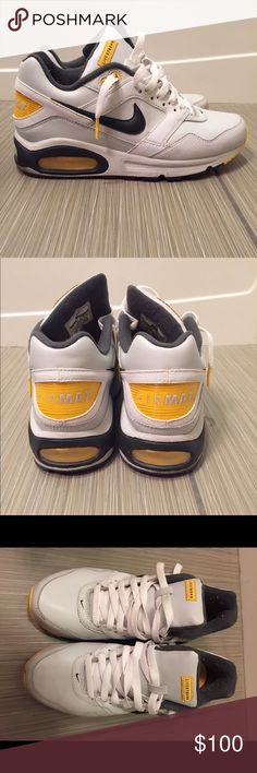 763f830b9 Nike Livestrong Air Max Light grey leather shoe with yellow accents. White  laces. Barely