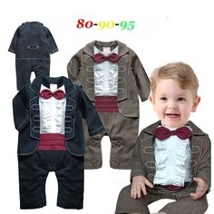 f1a0d10fc0e NYAN CAT Baby gentleman new jumpsuits infant toddler black khaki solid long sleeve  bow tie rompers boy kid wedding party costume