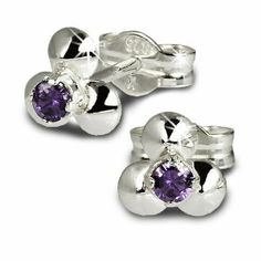 SilberDream earring small Flower with purple Zirkonia 925 Sterling Silver SDO530V SilberDream Charms. $10.45. Save 32% Off!