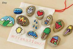 Piedras pintadas para crear historias en Etsy
