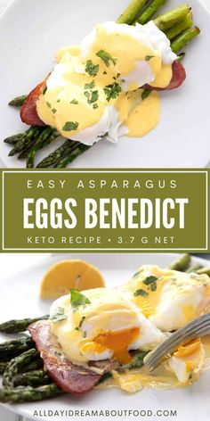Eggs Benedict gets a healthy low carb makeover. Replace the carb heavy bread with delicious asparagus for a fresh take on the brunch classic. Low Carb Keto, Low Carb Recipes, Diet Recipes, Cooking Recipes, Healthy Recipes, Healthy Options, Healthy Low Carb Breakfast, Breakfast Recipes, Breakfast Bites