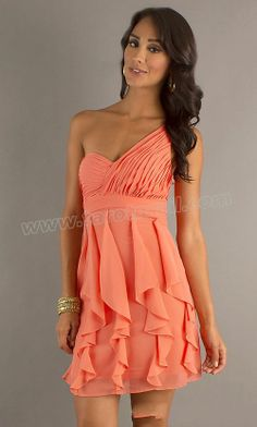 Ruffles One Shoulder Coral Mni Prom Dress
