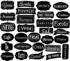 etiquetas para frascos de cocina imprimibles - Buscar con Google Foto Transfer, Just Do It, Home Deco, Silhouette Cameo, Decoupage, Hand Lettering, Diy And Crafts, Stencils, Typography