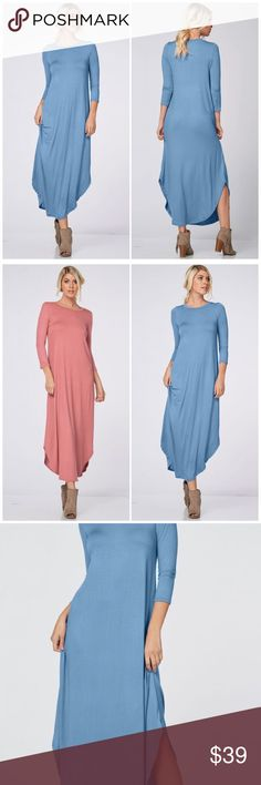 3/4 Sleeve Denim Blue Maxi Dress 3/4 Sleeve Maxi Dress featuring a round neckline and hemline. 2 side slits for an added sexy touch. 95% Rayon 5% spandex. Fits true to size. Available in mauve also Fabfindz Dresses Maxi