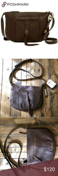 Lucky Brand cross-body bag!! Brand new with tags!! Lucky Brand cross body bag! Carmen Leather in chocolate!! Great fall bag!! Lucky Brand Bags Crossbody Bags