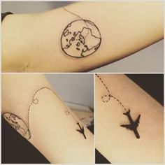 paper plane on then rocket on the other :D This delicate duo: | 41 Beautiful Tattoos That Will Spark Your Travel Bug