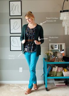 Ideas for outfits with teal jeans--so helpful, since I just got a pair myself!