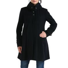 c5807a7824b78 Momo Maternity Women`s Wool Blend `Jessie` Pleated Swing Coat in Black,  Gray, or Navy