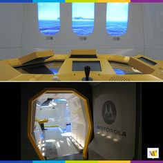 """We fabricated and installed the """"Motorola M-Lab"""". This space age edutainment environment stimulated the senses with stunning visuals, sounds effects, vibrations, and scents. #eventmarketing #design #display #experiential"""