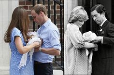 Catherine and William with George  Diana and Charles with William standing outside the same hospital both women delivered at -- St. Mary's.