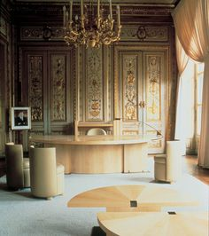 Andree Putman | Ministre de la culture Jack Lang |Paris | 1984 | Deidi-Von-Schaewen. The interior of the Ministers office.. The desk has been used by the French Prime Ministers since