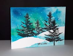 Cas Christmas Cards, Watercolor Christmas Cards, Christmas Drawing, Christmas Paintings, Watercolor Cards, Watercolor Trees, Watercolour, Penny Black Karten, Penny Black Cards