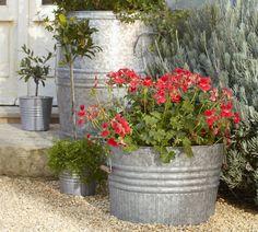 Large metal barrel fluted galvanized planters ; Gardenista