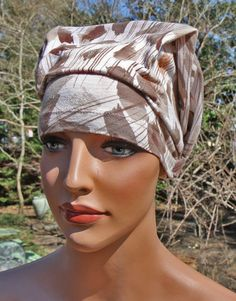 Headscarf for women brown taupe tone color chemo hat patient hat-doo rag head wrap recycled upcycled scrub cancer hat head wrap hairloss
