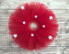 Red snowflake tutu, Christmas tutu, snowflake skirt, Holiday tutu, Red tutu, Gift for girls, Toddler Christmas, baby Christmas