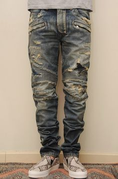 themanhattenproject: destroyed biker denim looks sick. Patched Jeans, Ripped Jeans, Denim Jeans, Man Jeans, Denim Shirts, Leather Jeans, Skinny Jeans, Camouflage, Jeans And Vans