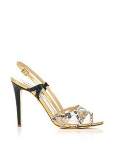 Upton sandals | Diane Von Furstenberg | $325 -   Gold, leather Open toe, high stiletto heel Nude and grey snake-print leather caged front strap Gold-tone slip back strap with side buckle Black textured leather side strap Leather.