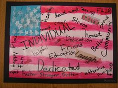 "The 5th grader's have an annual Road To Revolution Presentation that the put on at our school about the American Revolution. We brainstormed words for ""What it means to be an American"". Students cut words out of magazines and then added handwritten words into their space. We discussed Variety and how variety makes a piece of art more interesting. So students used different fonts, sizes and different directions to add/write their words and finished with a layer of mod podge"