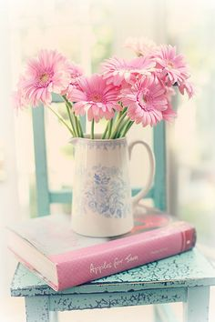 Pink Daisy in a Holland Ceramic Jug, by Maria Starzyk