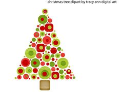 Mod Christmas Tree Clip Art, commercial and personal use