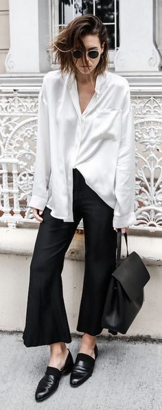 modern legacy | silk oversized shirt | cropped flare pants