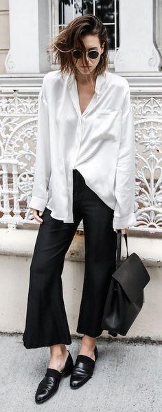 modern legacy | silk oversized shirt | cropped flare pants